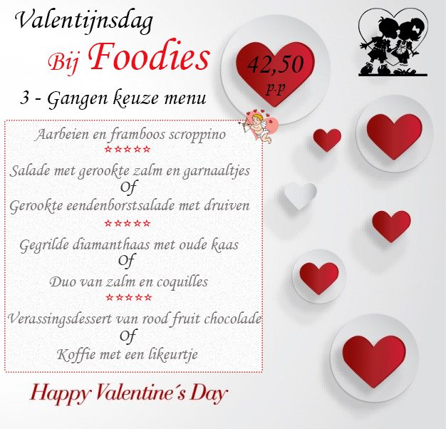 Foodies Valentine Menu
